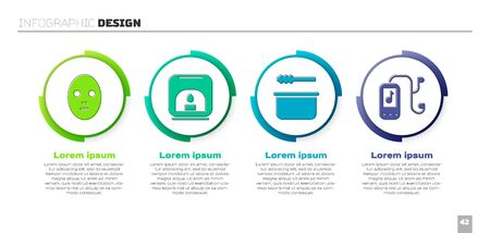 Set Facial cosmetic mask, Aroma lamp, Sauna bucket and ladle and Music player. Business infographic template. Vector.
