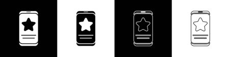 Set Mobile phone with review rating icon isolated on black and white background. Concept of testimonials messages, notifications, feedback. Vector Illustration.