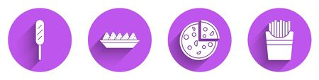 Set Corn dog, Nachos in plate, Pizza and Potatoes french fries in box icon with long shadow. Vector.