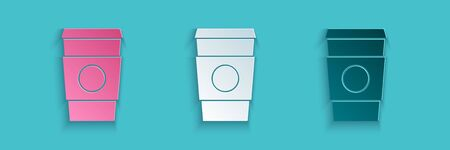Paper cut Coffee cup to go icon isolated on blue background. Paper art style. Vector Illustration.