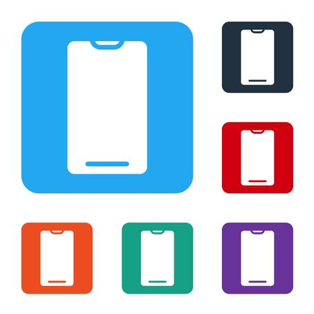 White Smartphone, mobile phone icon isolated on white background. Set icons in color square buttons. Vector Illustration.