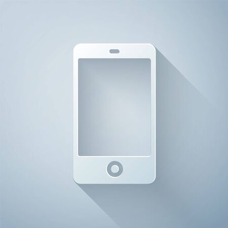 Paper cut Smartphone, mobile phone icon isolated on grey background. Paper art style. Vector Illustration. Ilustrace