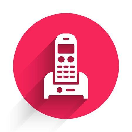 White Telephone icon isolated with long shadow. Landline phone. Red circle button. Vector Illustration.