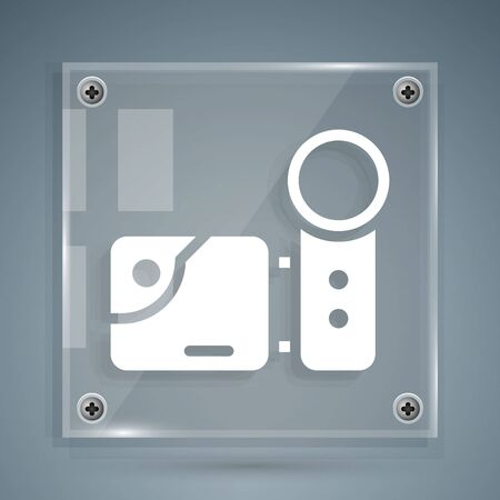 White Cinema camera icon isolated on grey background. Video camera. Movie sign. Film projector. Square glass panels. Vector Illustration.
