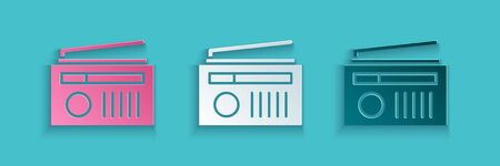 Paper cut Radio with antenna icon isolated on blue background. Paper art style. Vector Illustration. Illusztráció