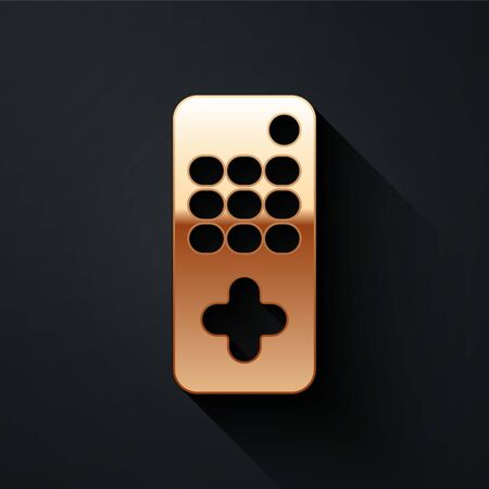 Gold Remote control icon isolated on black background. Long shadow style. Vector Illustration. 向量圖像