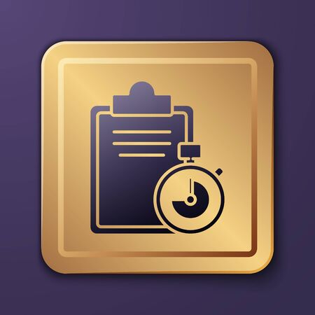 Purple Verification of delivery list clipboard icon isolated on purple background. Gold square button. Vector Illustration. Ilustrace