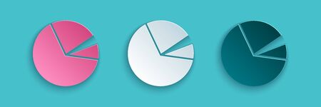 Paper cut Pie chart infographic icon isolated on blue background. Diagram chart sign. Paper art style. Vector Illustration.