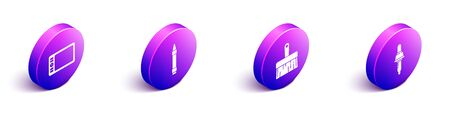Set Isometric Graphic tablet, Wax crayons for drawing, Paint brush and Pipette icon. Vector.