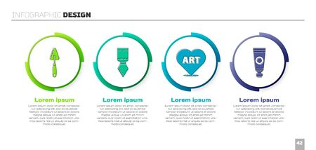 Set Palette knife, Palette knife, Heart with text art and Tube with paint palette. Business infographic template. Vector.