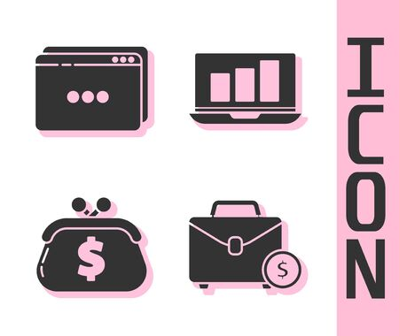Set Briefcase and money, Website template, Wallet with dollar and Laptop with graph chart icon. Vector.