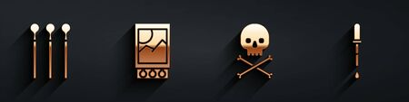 Set Matches, Open matchbox and matches, Skull on crossbones and Pipette icon with long shadow. Vector.
