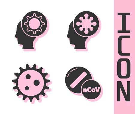 Set Medicine pill or tablet, Human and virus, Virus and Human and virus icon. Vector.