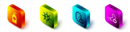 Set Isometric Bottle of liquid antibacterial soap, Virus, Negative virus and Positive virus icon. Vector.