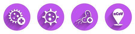 Set Positive virus, Virus, Positive virus and Corona virus 2019-nCoV on location icon with long shadow. Vector. 일러스트