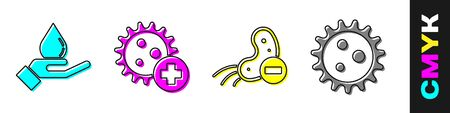 Set Washing hands with soap, Positive virus, Negative virus and Virus icon. Vector.