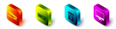 Set Isometric Office stapler, Keyboard, Calendar and Computer monitor screen icon. Vector.