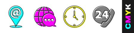 Set Location and mail and e-mail, World map made from speech bubble, Clock and Telephone 24 hours support icon. Vector.