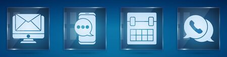 Set Monitor and envelope, Chat messages notification on phone, Calendar and Telephone with speech bubble chat. Square glass panels. Vector. Ilustrace
