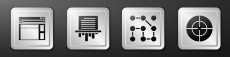 Set Website template, Paper shredder, Graphic password protection and Target sport icon. Silver square button. Vector.