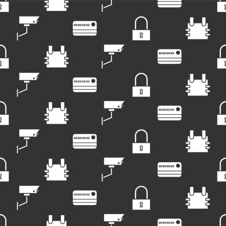 Set Lock, Bulletproof vest, Security camera and Credit card on seamless pattern. Vector.