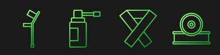 Set line Awareness ribbon, Crutch or crutches, Medical bottle with nozzle spray and Otolaryngological head reflector. Gradient color icons. Vector.