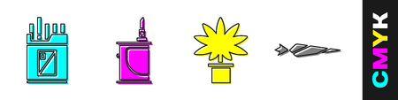 Set Open cigarettes pack box, Electronic cigarette, Marijuana or cannabis plant in pot and Marijuana joint icon. Vector. Banco de Imagens - 150532400