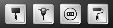 Set Putty knife, Electric rotary hammer drill, Electrical outlet and Paint roller brush icon. Silver square button. Vector.