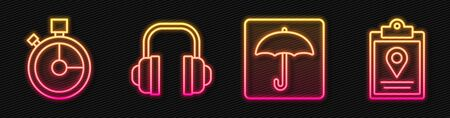 Set line Umbrella, Fast time delivery, Headphones and Document tracking marker system. Glowing neon icon. Vector.