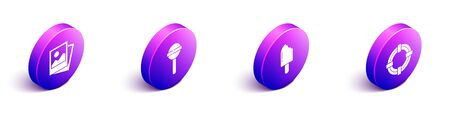 Set Isometric Photo, Lollipop, Ice cream and Lifebuoy icon. Vector.