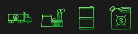 Set line Barrel oil, Tanker truck, Oil industrial factory building and Canister for motor machine oil. Gradient color icons. Vector. Çizim