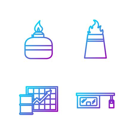 Set line Gas filling station, Oil price increase, Alcohol or spirit burner and Oil rig with fire. Gradient color icons. Vector.