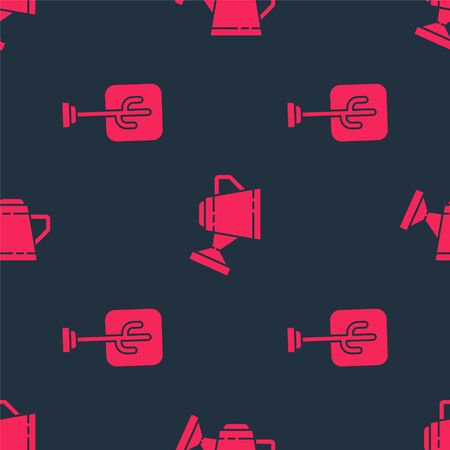 Set Tree and Watering can on seamless pattern. Vector.