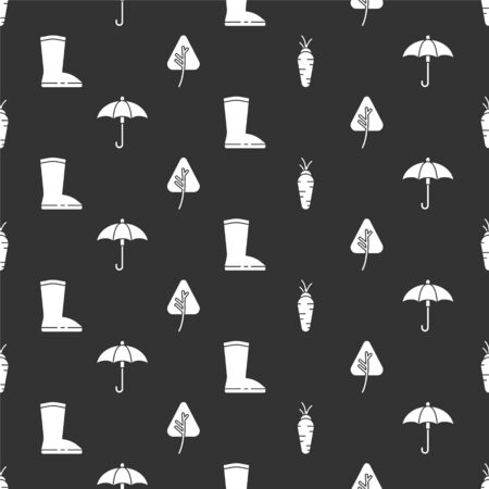 Set Carrot, Umbrella, Waterproof rubber boot and Leaf or leaves on seamless pattern. Vector.