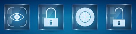 Set Eye scan, Lock, Target sport and Open padlock. Square glass panels. Vector illustration  イラスト・ベクター素材