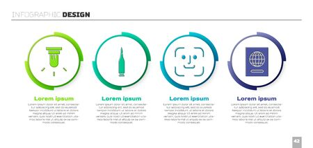 Set Motion sensor, Bullet, Face recognition and Passport. Business infographic template. Vector.