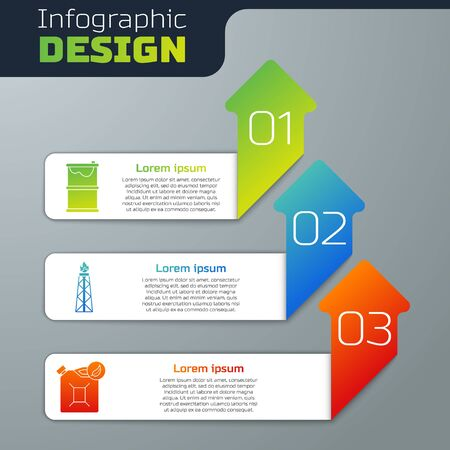 Set Barrel oil leak, Oil rig with fire and Bio fuel canister. Business infographic template. Vector. Çizim