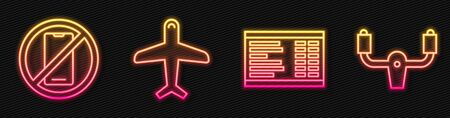 Set line Airport board, No cell phone, Plane and Aircraft steering helm. Glowing neon icon. Vector.