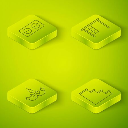 Set Isometric Office desk, Chandelier, Staircase and Electrical outlet icon. Vector.