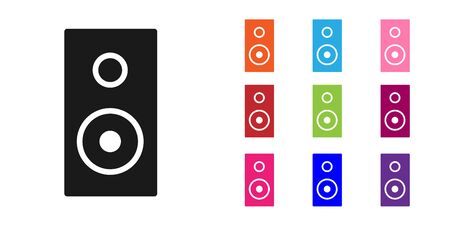 Black Stereo speaker icon isolated on white background. Sound system speakers. Music icon. Musical column speaker bass equipment. Set icons colorful. Vector Illustration.