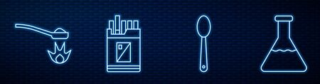 Set line Heroin in a spoon, Heroin in a spoon, Open cigarettes pack box and Test tube and flask. Glowing neon icon on brick wall. Vector.