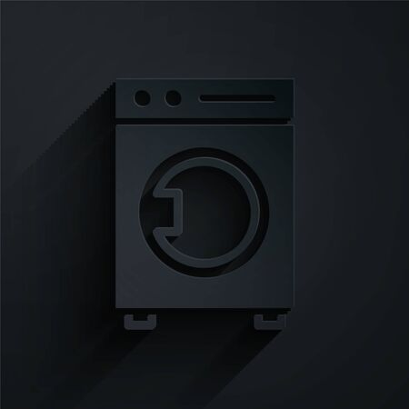 Paper cut Washer icon isolated on black background. Washing machine icon. Clothes washer - laundry machine. Home appliance symbol. Paper art style. Vector Illustration. Stock Illustratie