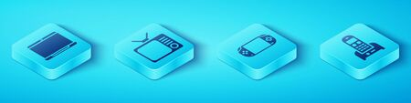 Set Isometric Laptop, Retro tv, Telephone and Portable video game console icon. Vector.