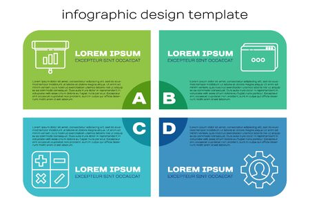 Set line Calculator, Graph, chart, diagram, infographic, Human with gear inside and Website template. Business infographic template. Vector. Stock Illustratie