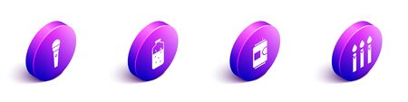 Set Isometric Karaoke microphone, Mulled wine, Beer can and Birthday cake candles icon. Vector. Illustration