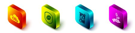 Set Isometric CO2 emissions in cloud, Shield with leaf, Recycle bin with recycle and Plant in hand icon. Vector.