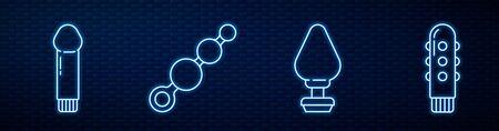 Set line Anal plug, Dildo vibrator, Anal beads and Dildo vibrator. Glowing neon icon on brick wall. Vector. Illusztráció