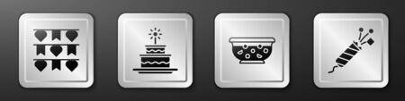 Set Carnival garland with flags, Cake with burning candles, Mixed punch in bowl and Firework rocket icon. Silver square button. Vector.