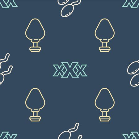 Set line Sperm, Anal plug and Sex shop on seamless pattern. Vector.