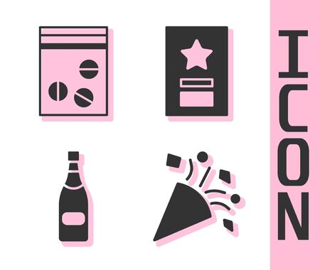 Set Festive confetti, Plastic bag of drug, Champagne bottle and Greeting card icon. Vector.